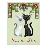 Cute Holiday Cats Save the Date Wedding Notice 4.25x5.5 Paper Invitation Card