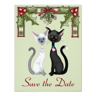 Cute Holiday Cats Save the Date Wedding Notice Custom Invitations