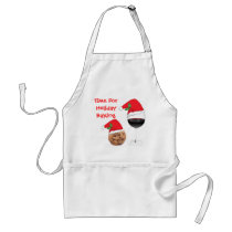 Cute Holiday Christmas Cookie Red Wine Santa Hat Adult Apron