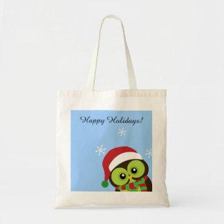 Cute Holiday Christmas Owl Tote Bag