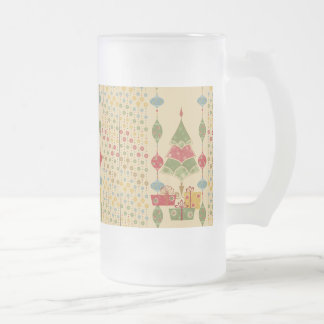Cute Holiday Christmas Tree Ornaments Presents Frosted Glass Beer Mug