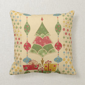 Cute Holiday Christmas Tree Ornaments Presents Throw Pillows