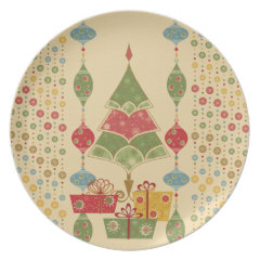 Cute Holiday Christmas Tree Ornaments Presents Plates