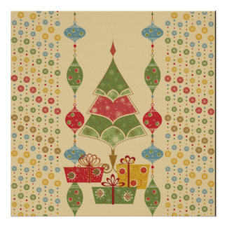 Cute Holiday Christmas Tree Ornaments Presents Poster