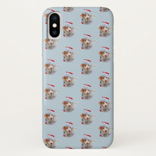 Cute holiday Dachshund dog Xmas festive hat snow iPhone X Case