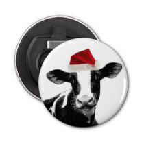 Cute Holiday Dairy Cow with Santa Hat Bottle Opener