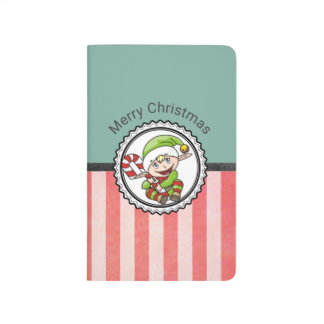 Cute Holiday Elf with Candy Cane Merry Christmas Journal