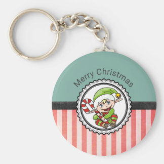 Cute Holiday Elf with Candy Cane Merry Christmas Keychain