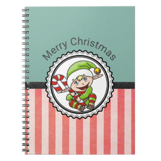 Cute Holiday Elf with Candy Cane Merry Christmas Notebook