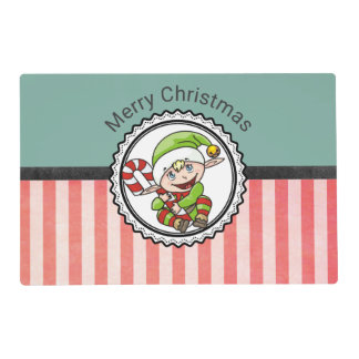Cute Holiday Elf with Candy Cane Merry Christmas Placemat
