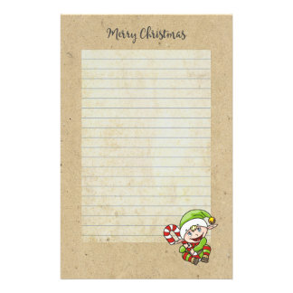 Cute Holiday Elf with Candy Cane Merry Christmas Stationery