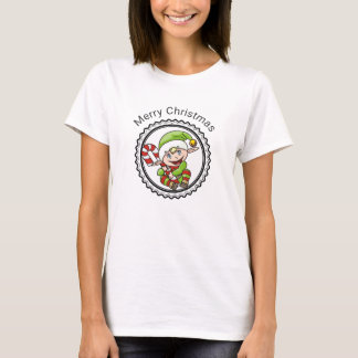 Cute Holiday Elf with Candy Cane Merry Christmas T-Shirt