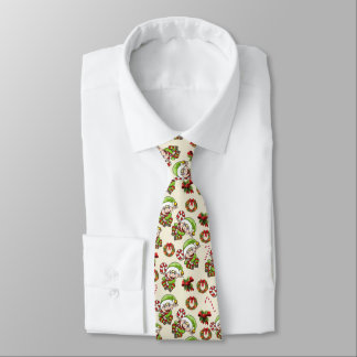 Cute Holiday Elf with Decorative Christmas Designs Neck Tie