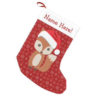 Cute Holiday Fox Personalized Animal Christmas Small Christmas Stocking