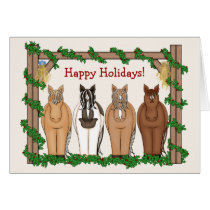 Cute Holiday Horse Christmas Greeting Card