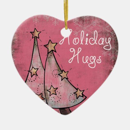 cute holiday hugs pink christmas trees ceramic ornament