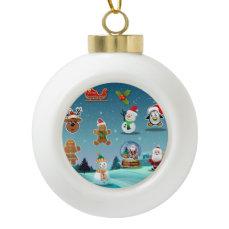 Cute Holiday Night Scene Ceramic Ball Christmas Ornament
