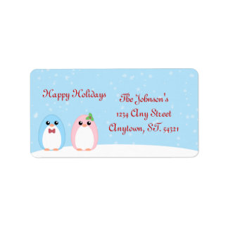 Cute Holiday Penguin Couple Address Label