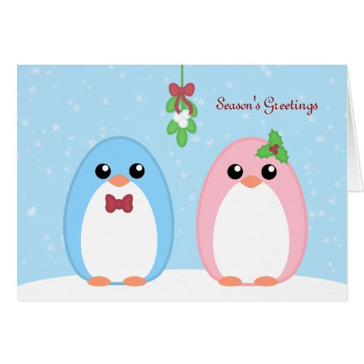 Cute holiday penguin couple card zazzle for Penguin christmas cards homemade