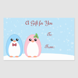 Cute Holiday Penguin Couple Gift Label Rectangle Sticker