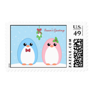 Cute Holiday Penguin Couple Postage