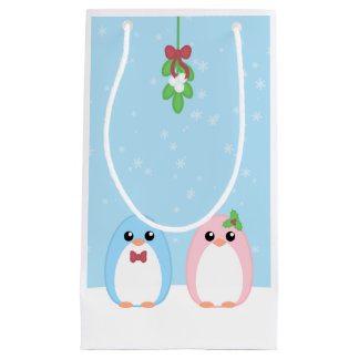 Cute Holiday Penguin Couple Small Gift Bag