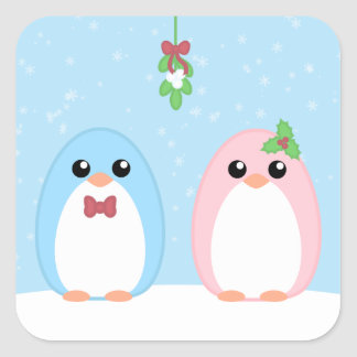 Cute Holiday Penguin Couple Square Sticker