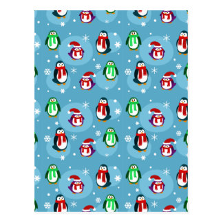 Cute Holiday Penguin Pattern Postcard