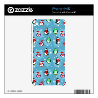 Cute Holiday Penguin Pattern Decals For iPhone 4