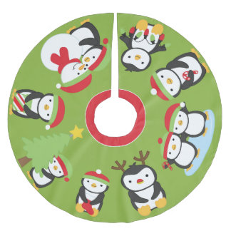 Cute Holiday Penguins Festive Christmas Tree Skirt
