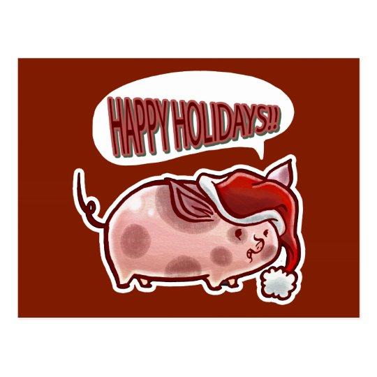 Cute Holiday Pig Postcard