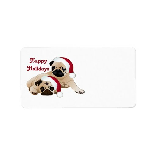 Cute Holiday Pugs Tees and gifts Personalized Address Labels