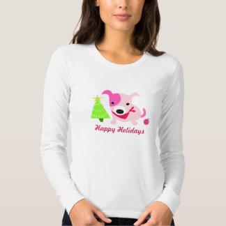 Cute Holiday Puppy & Christmas Tree T-shirt