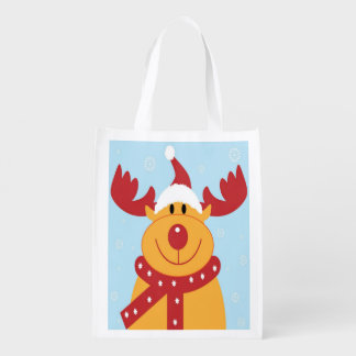Cute Holiday Reindeer on Light Blue Background Reusable Grocery Bag