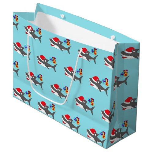 Cute Holiday Shark Gift Bag