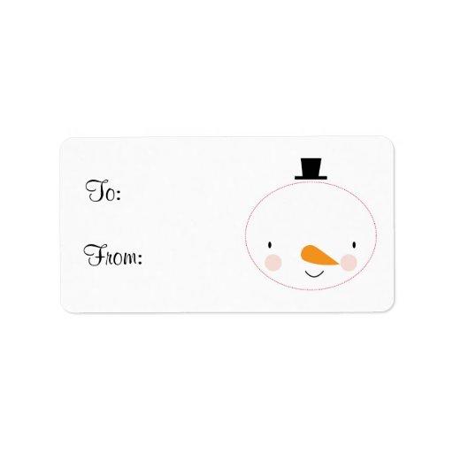 Cute Holiday Snowman Gift Tag Custom Address Labels