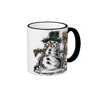 Cute Holiday Snowman Ringer Mug