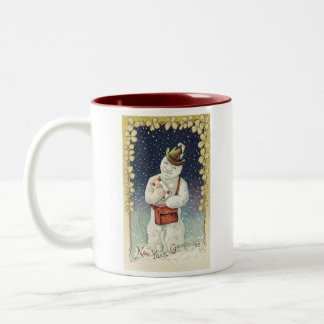Cute Holiday Vintage Snowman Two-Tone Coffee Mug