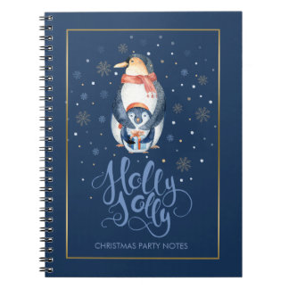 Cute Holly Jolly Christmas Typography & Penguins Notebook