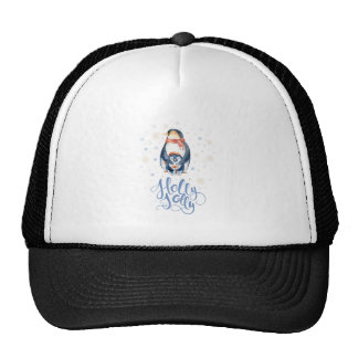 Cute Holly Jolly Typography & Christmas Pinguin Trucker Hat
