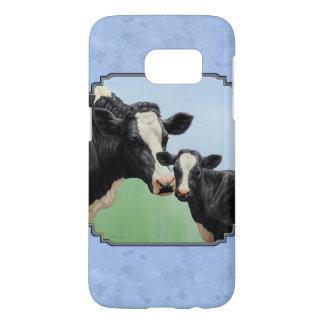 Cute Holstein Calf & Cow Blue Samsung Galaxy S7 Case
