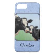 Cute Holstein Calf & Cow Sky Blue iPhone 7 Plus Case
