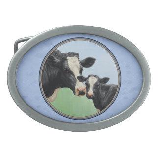Cute Holstein Calf & Cow Sky Blue Oval Belt Buckle