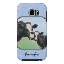 Cute Holstein Calf & Cow Sky Blue Samsung Galaxy S6 Case