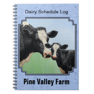 Cute Holstein Calf & Cow Sky Blue Spiral Notebook