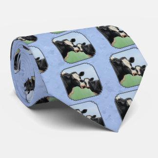 Cute Holstein Calf & Cow Sky Blue Tie