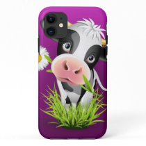 Cute Holstein cow in grass over purple iPhone 11 Case