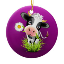 Cute Holstein cow in grass over purple Ceramic Ornament