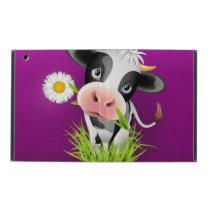 Cute Holstein cow in grass over purple iPad Case