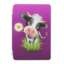 Cute Holstein cow in grass over purple iPad Mini Cover
